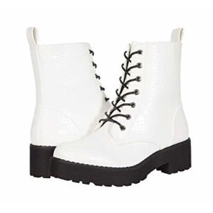 Dirty Laundry Mazzy Combat Boots - White Croco